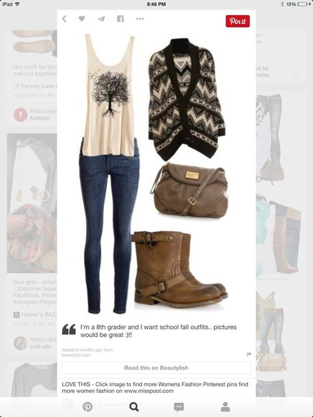 cardigan blouse shoes