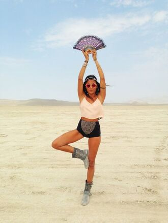 top crop tops white crop tops heart sunglasses short shorts burningman pants burning man burning man clothing burning man costume festival music festival