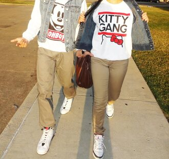 sweater white clothes cute swag kitty gang air jordan pants vest shoes jacket