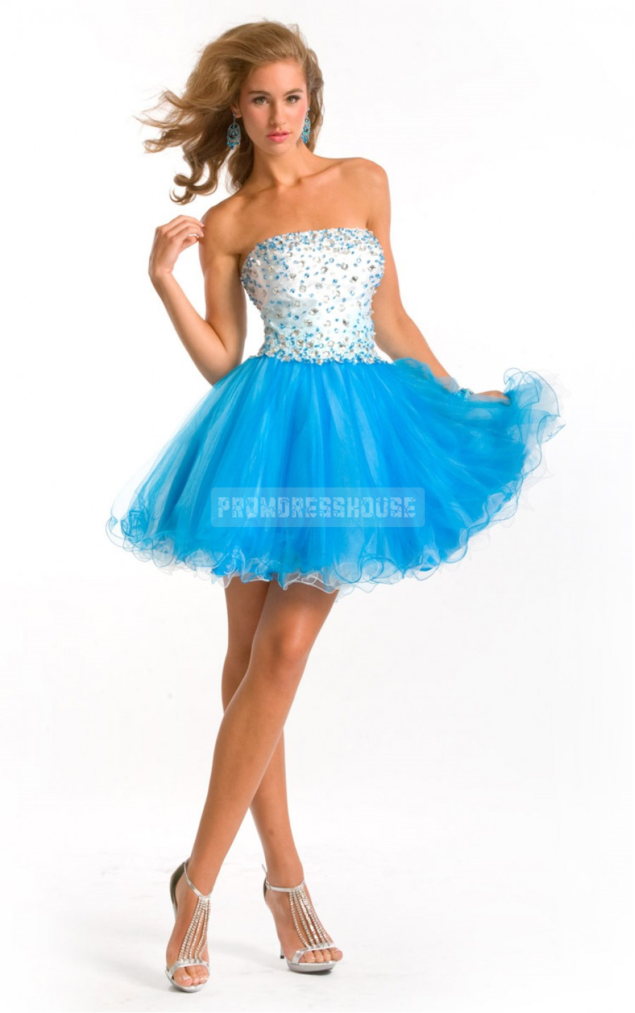 Tulle Baby Doll Beading Pleated Strapless Short Length Prom Dress - Promdresshouse.com