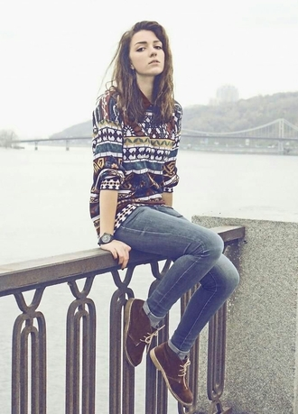 sweater cute shoes printed sweater rainbow