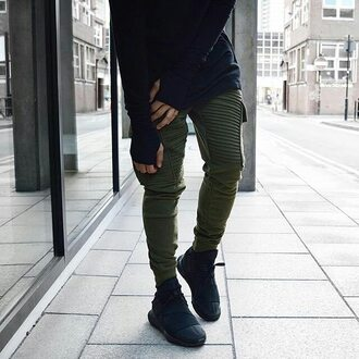pants maniere de voir khaki rib jog sweat track tapered utility green
