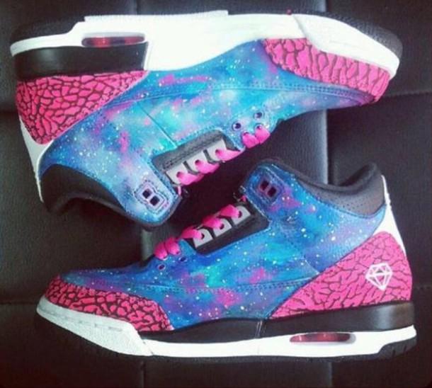 shoes white black pink purple blue jordan's