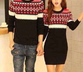 dress pull boy girt couple cardigan blouse