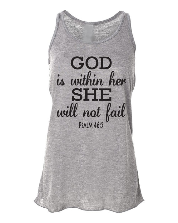 Running tank top psalm 46:5 god is within her. workout tank top. bella. christian clothing. running shirt. marathon. faith. bible verse.