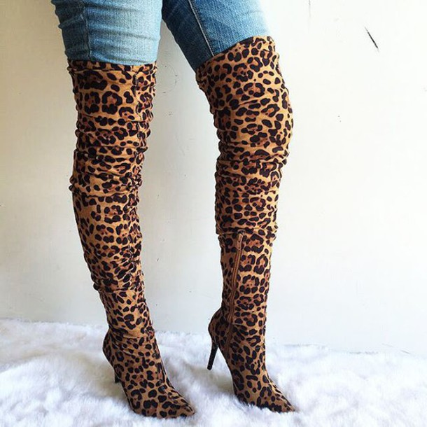 Thigh High Leopard Print Boots - Boot Hto