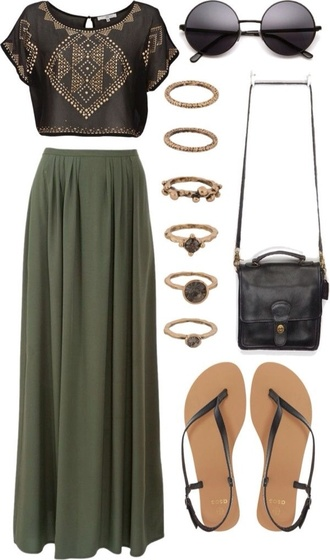 shirt black boho skirt sunglasses bag blouse crop-top ring cute purse outfit maxi skirt khaki crop tops sandals deep green shoes top cropped studs fashion jewels style dress black crop top and green skirt black shirt and green skirt shorts socks green shirt yellow dots