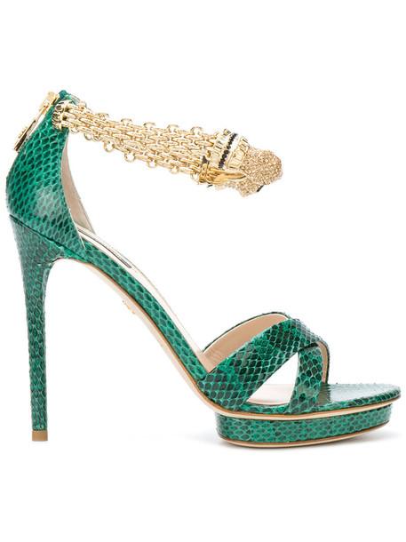 Roberto Cavalli women sandals platform sandals leather green shoes