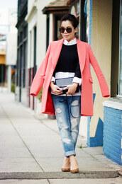 hallie daily,coat,bag,jeans,shoes,sweater,t-shirt,shirt,sunglasses