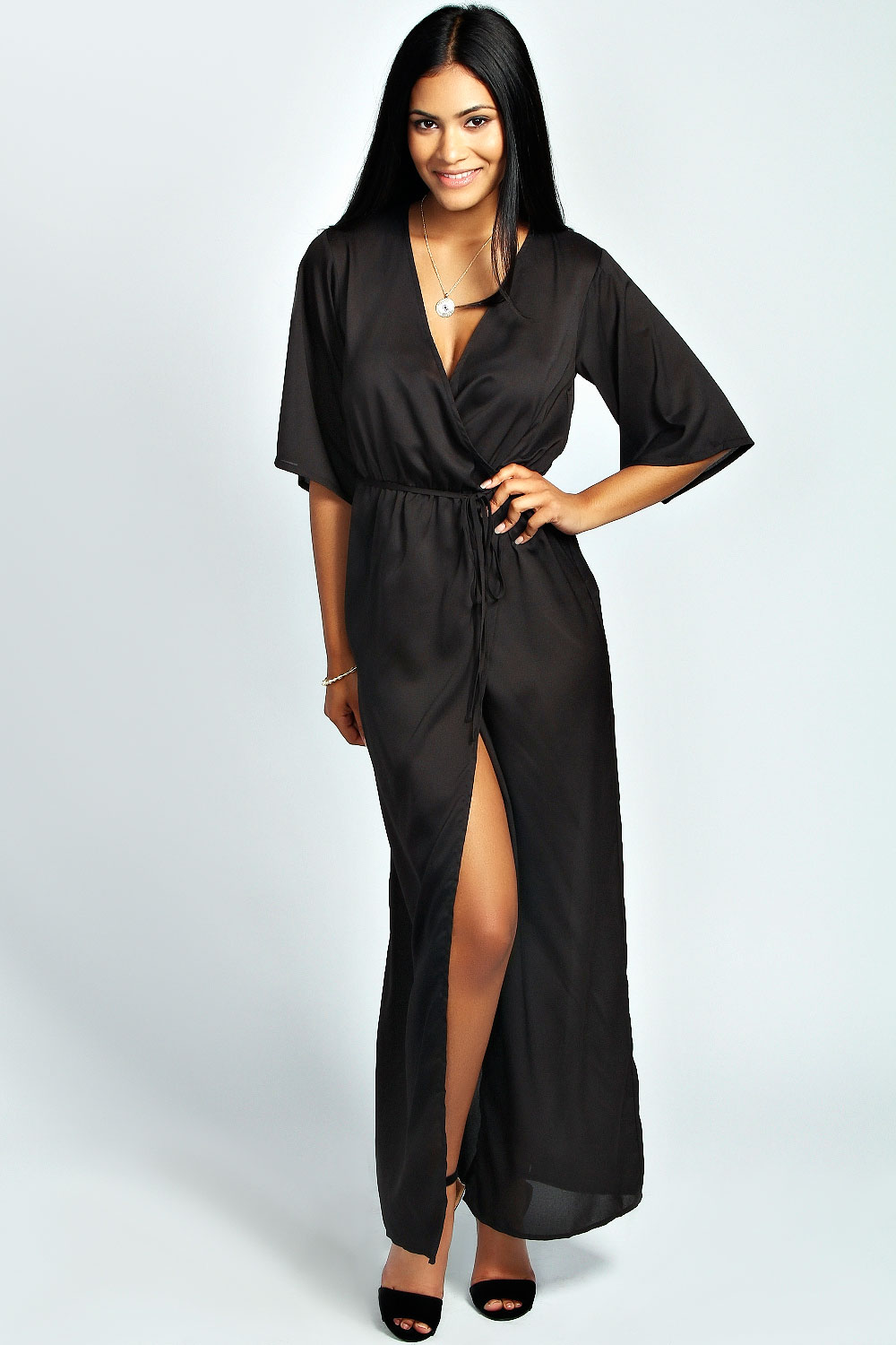 Evita Woven Wrap Maxi Dress