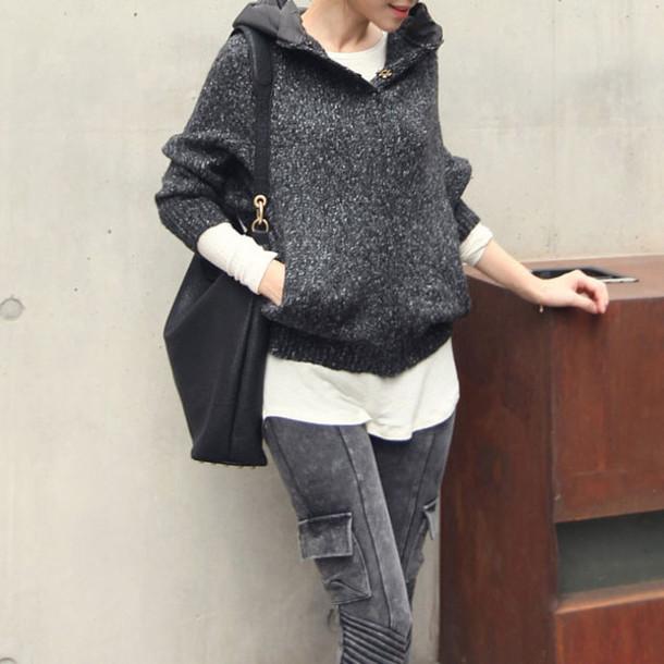 sweater black loose hood