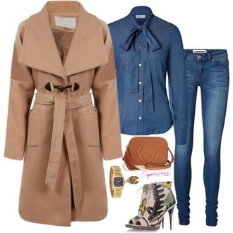 denim blouse jeans jewels heels watch outfit burberry camel camel coat peep toe boots