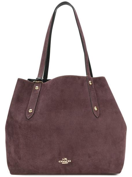 coach women suede purple pink bag