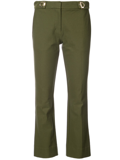 flare cropped women spandex cotton green pants