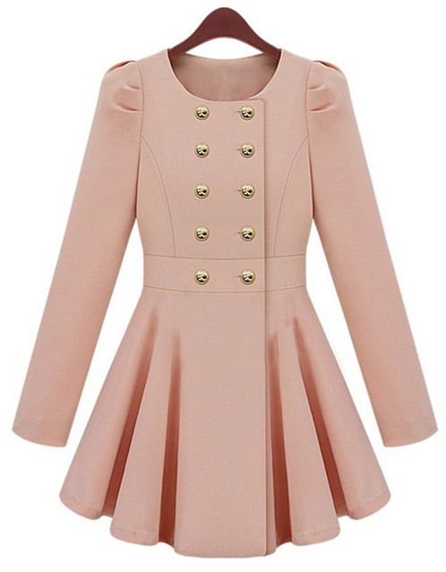 [US$59.99] - Pink Long Sleeve Double Breasted Flare Hem Slim Trench Coat : ThatsPoint.com