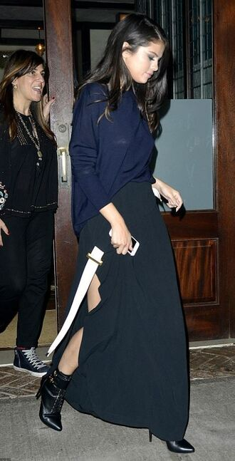 skirt top maxi skirt ankle boots slit skirt selena gomez shoes