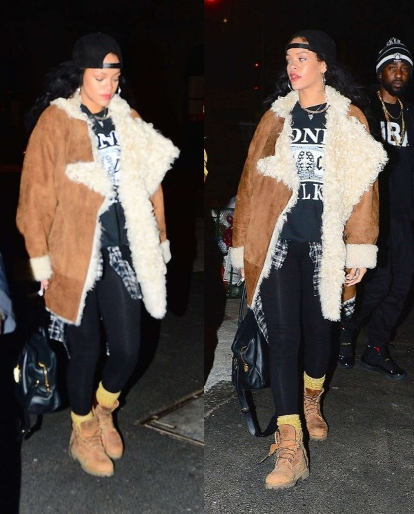 Coat fur fur coat rihanna winter outfits leather ...