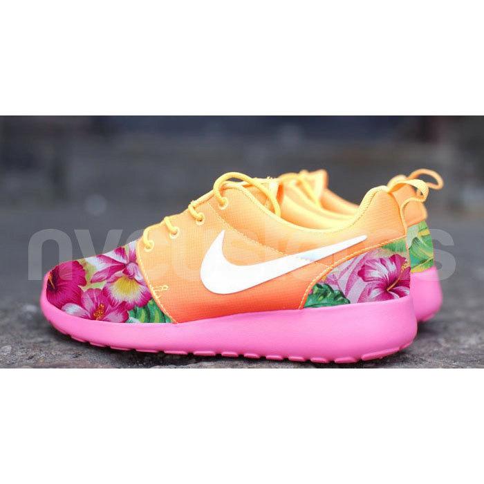 Nike Roshe Run Atomic Mango Ombre Island Floral Garden V2 Custom Womens