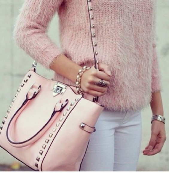 bag pink bag studs purses pink sweater soft pink christmas white jeans