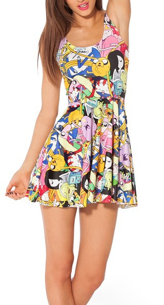 EAST KNITTING fashion G9 HOT Women digital print pleated Adventure Time Bro Ball Reversible Skater Dress S M L XL Plus Size-in Dresses from Apparel & Accessories on Aliexpress.com