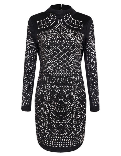 dress brenda-shop black black dress little black dress rhinestones rhinestones dress going out special occasion dress sexy dress mini dress long sleeves sale prom dress chic cute dress vintage vintage dress top blogger lifestyle studded bodycon dress