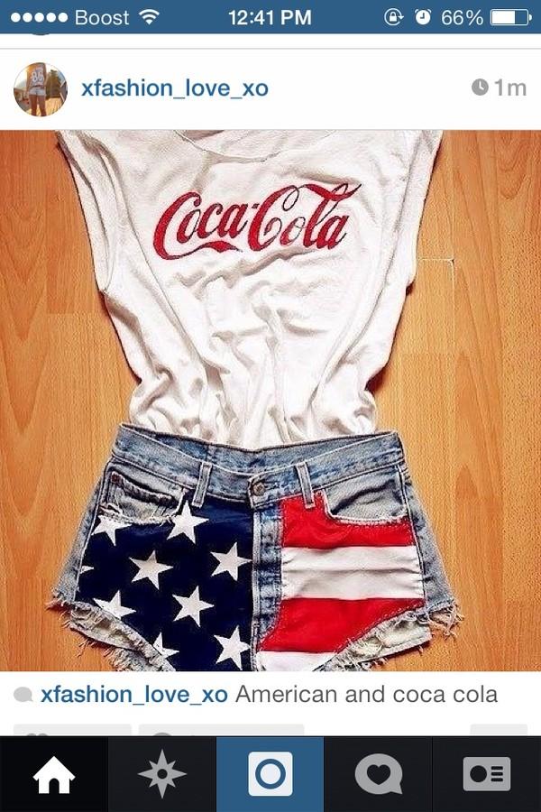 shorts american flag shorts coca cola