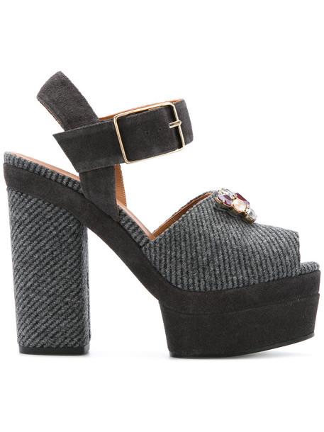 CASTAÑER women sandals platform sandals leather cotton grey shoes