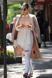 sweater,cropped,vanessa hudgens,coat,ripped jeans,flats,shirt,jeans,shoes