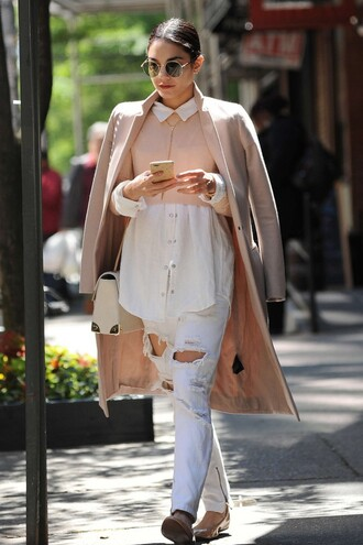 sweater cropped vanessa hudgens coat ripped jeans flats shirt