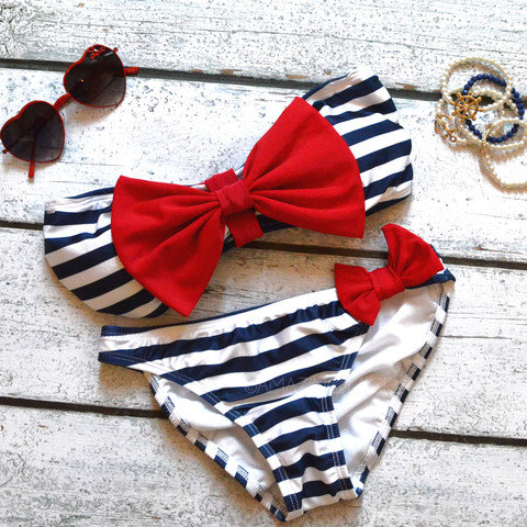 Sailor's Girl Navy Striped Red Bow Bandeau Bikini on Wanelo