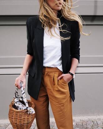 pants tumblr brown pants t-shirt white t-shirt blazer black blazer bag basket bag office outfits