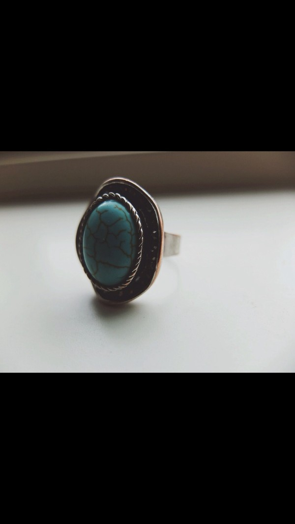 jewels green blue turquoise ring girl pretty silver silver ring ring big rings knuckle ring