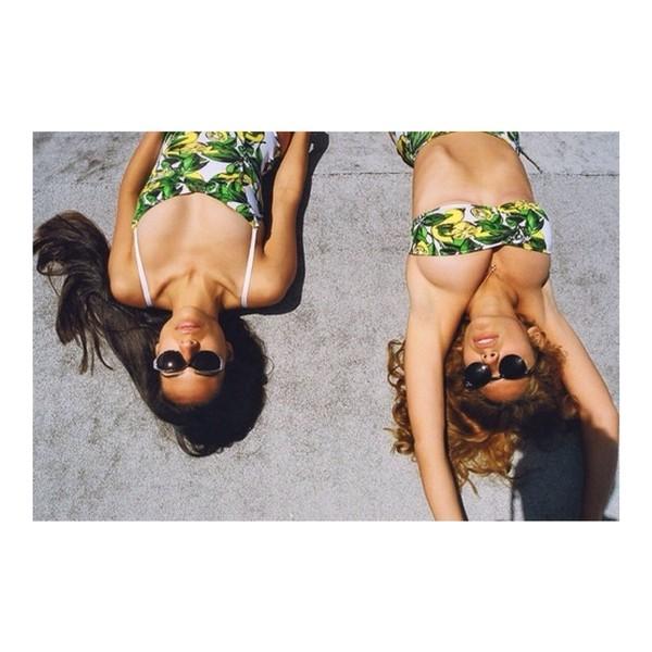 swimwear green bikini tumblr bikini tumblr yellow lemon