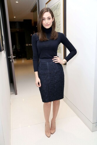 pencil skirt emmy rossum pumps turtleneck skirt shoes top