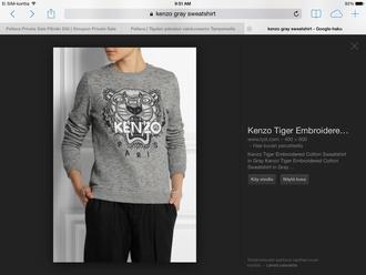 sweater gray kenzo tiger shirt