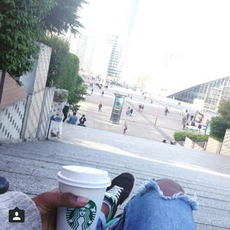 jeans ripped jeans starbucks coffee