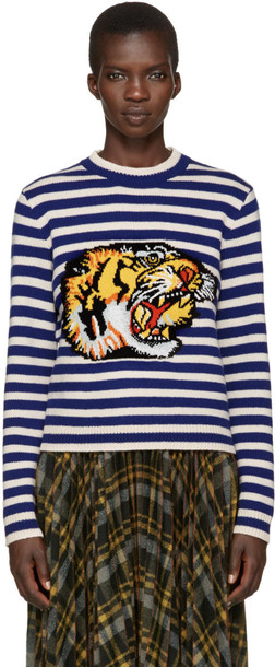 sweater tiger white blue blue and white
