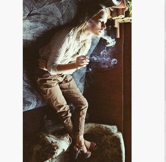 pants neutral color block tan pants boyfriend menswear tan beige brown neutral striped blouse ginham gingham gingham casual strappy wedges strap wedges ankle strap wedges blouse shoes