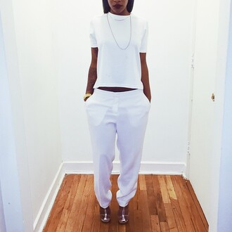 pants outfit shirt t-shirt white white pants clean white outfit clear heels heels chain gold chain gold watch gold harem harem pants cute style chic dope trill short sleeve tumblr fashion crisp white baggy pants streetstyle top black girls killin it white top shoes all white everything summer outfits