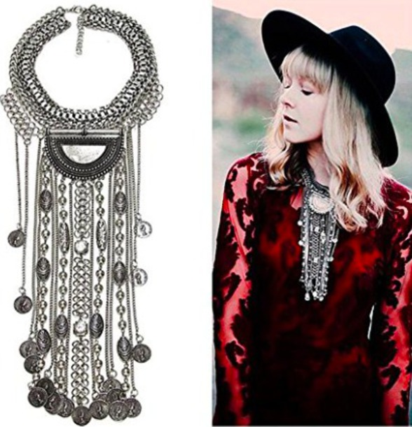 jewels boho chic tribal pattern gypsy dangle drop silver necklace coachella bib necklaces statement necklace