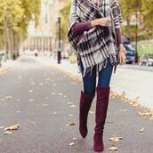 shoes,tumblr,boots,burgundy,over the knee boots,thigh high boots,denim,jeans,blue jeans,scarf,blanket scarf,tartan,tartan scarf,plaid,flannel scarf,flannel