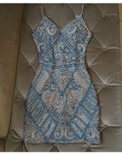 dress,blue,silver,short,beaded blue,beading,champagne,bodycon dress,hoco dress,homecoming dress,hoco,sparkly dress,cute pretty dresses