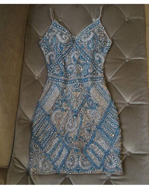 dress blue silver short beaded blue beading champagne bodycon dress hoco dress homecoming dress hoco sparkly dress cute pretty dresses
