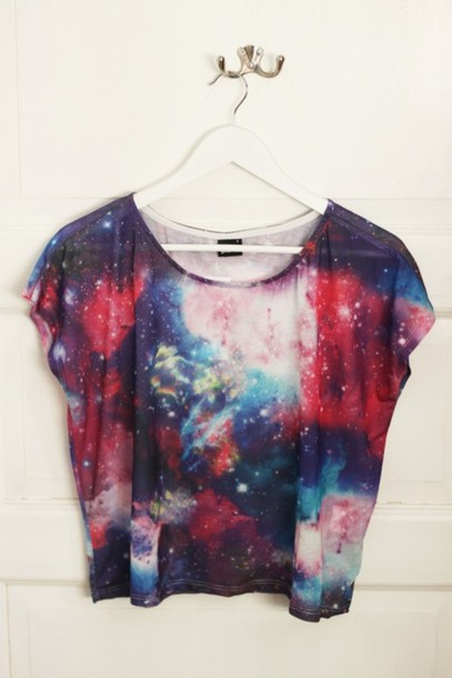 galaxy print t-shirt top girl summer crop tops shirt blouse crop tops galaxy shirt galaxy crop top