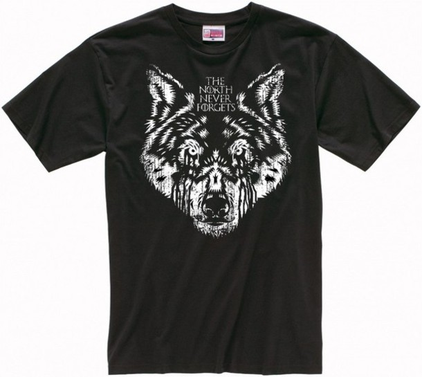 shirt wolf game of thrones quote on it