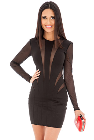 Bodycon Mini Dress with Mesh Inserts
