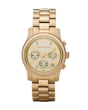 Michael Kors Yellow Golden Midsized Chronograph Runway Watch - Michael Kors