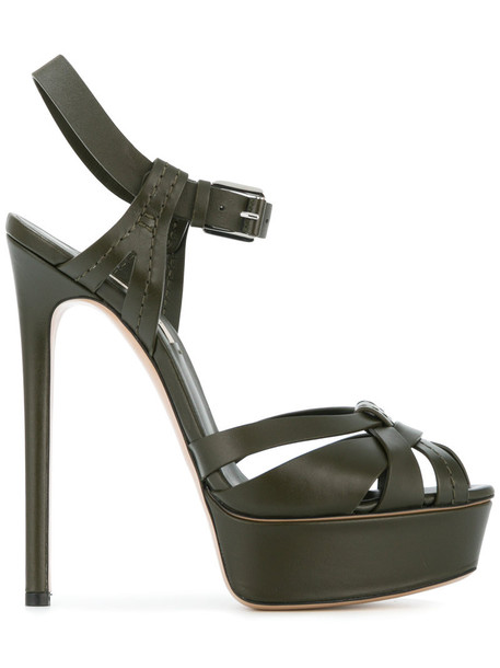 CASADEI women sandals platform sandals leather green shoes