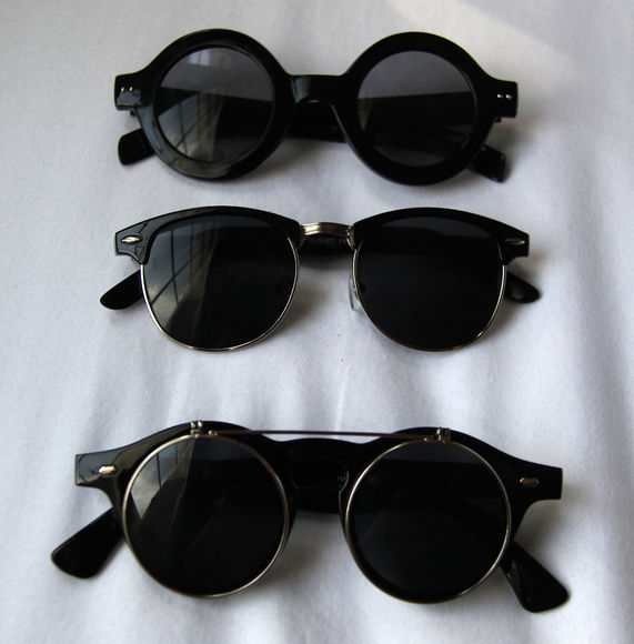 sunglasses rayban celebrities black shades vintage retro round glasses