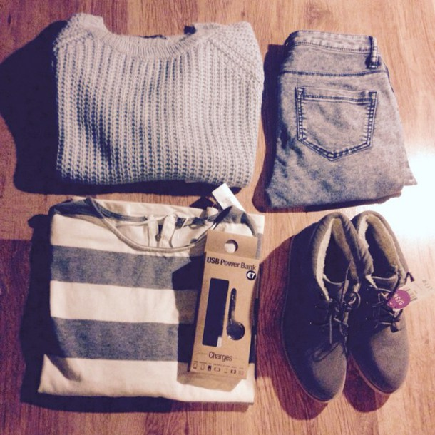 shoes sweater t-shirt jeans